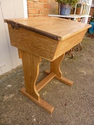 Mid Century Oak School Desk Industrial,original Vintage, Lift Top, Inkwell,
