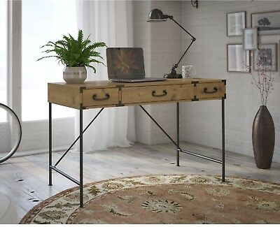 Vintage Wood Writing Desk ~ Rustic Student Table w/Drawers & Aged Bronze Pulls