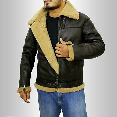 935eb2ce1cc Men s Aviator RAF B3 Ginger Shearling Sheepskin Leather Bomber Flying Jacket