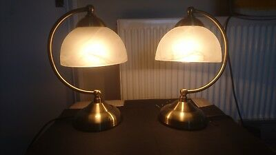 Pair Of Antique Brass Curved Touch Lamps Table Bedside
