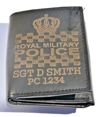Royal Military Police Uk Army Personalised Genuine Leather Wallet Any Name & No.
