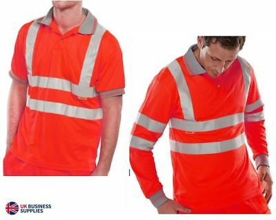 Hi Viz Vis Red Polo T-Shirt Hi-Visibility Reflective Short Long Sleeve EN471