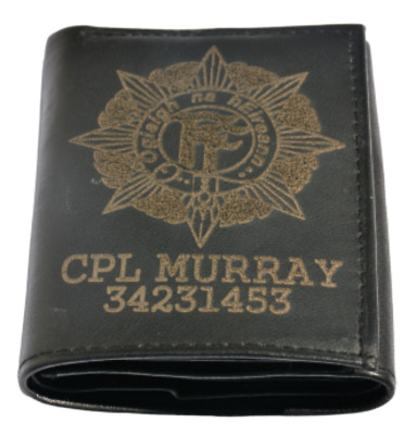 Irish Army Defence Force Cap Personalised Genuine Leather Wallet Any Name & No