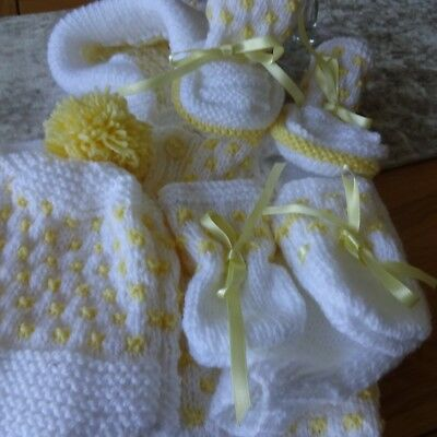 Hand Knitted Baby Boy's Hooded Jacket, Hat, Mitts and Bootees