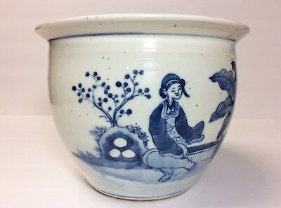 Antique Chinese Porcelain Planter Pot Blue/White With Mark