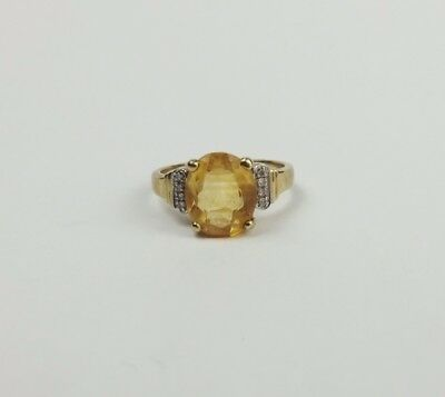 9ct Yellow Gold Citrine & Diamond Ring UK Size O US 7
