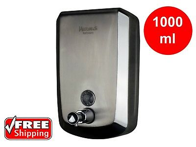LIQUID SOAP DISPENSER COMMERCIAL BATHROOM STAINLESS STEEL 1000ml MANUAL PUSH