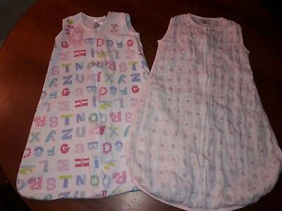 lot of 2 small 3-6 month swaddle Halo swaddle designs alphabet pink floral sack
