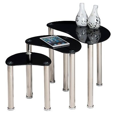 Set of 3 Tempered Black Glass Side Tables Living Room Nesting Storage Coffee NEW