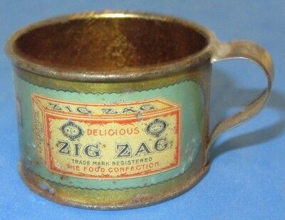 Vintage Advertising D.L. Clark -Zig Zag- Confection Tiny Tin Cup, Pittsburgh. Pa