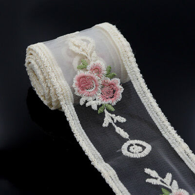 2 Yards Tulle Embroidered Floral Wedding Lace Trim Ribbon Sewing Applique Craft