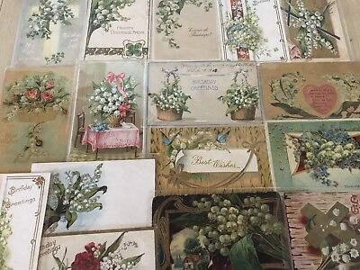Nice Lot of 16 Vintage Greetings Postcards with Lily of the Valley Flowers-s65