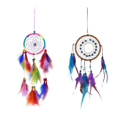 2PCS HANDMADE FAIRY Turquoise Dreamcatcher Craft Kids Room Hanging Decor
