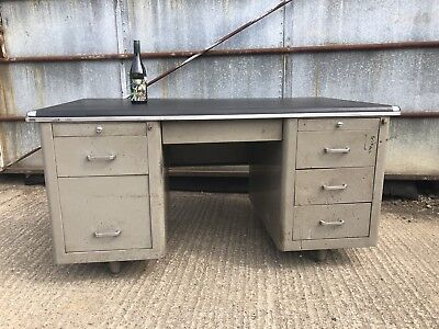 Large Vintage 1950s Industrial Desk