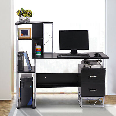 "53"" Multi-Level Office Workstation Computer Desk Home Office Black"