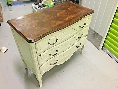 Louis xv chest of curved drawers, solid oak, shabby chiq with parquet top