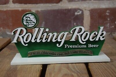 Vintage Rolling Rock Premium Beer Plastic Stand Up Bar Sign Latrobe Brewery