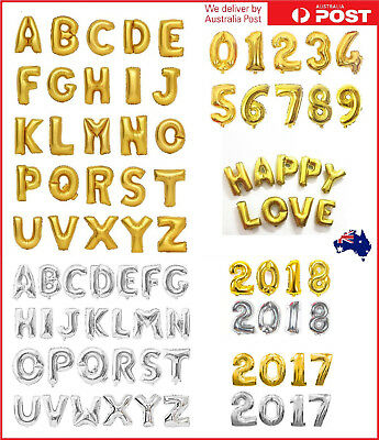 16 inch Gold Silver Foil Balloons Alphabet Letter Number Birthday Party Wedding