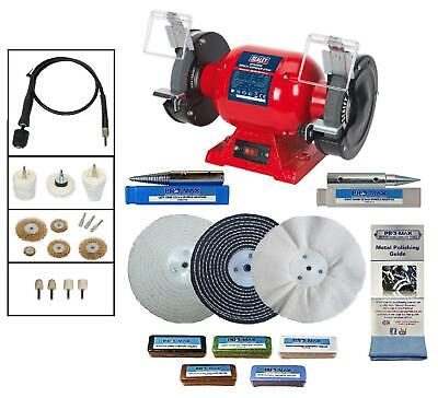 "6"" Bench Grinder 370W Bench Polisher With 25pc Metal Polishing Kit Machine"
