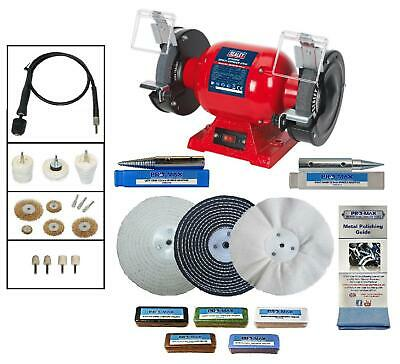 "Draper 6"" 370W Bench Grinder Polisher & Pro-Max 6"" Deluxe Metal Polishing Kit"