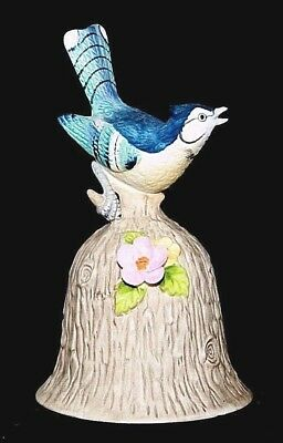 """Collectible TOWLE Bisque Porcelain Blue Jay Bird Bell, 4 3/4"""" Tall, Very Nice!"""