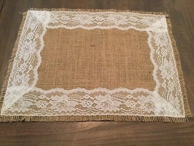 Natural Burlap White Lace Placemat Rustic Wedding Placemats Country Home Decor
