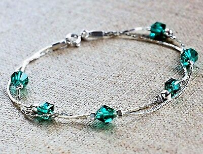Solid 925 Sterling Silver Emerald  green Crystal Bracelet double chain Dainty