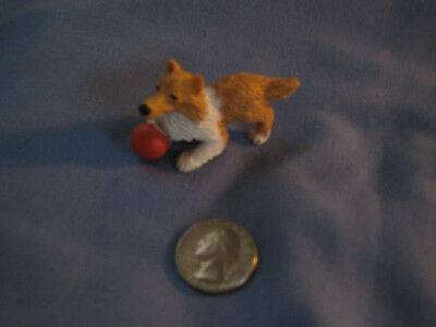 """Vtg Hasbro Puppy in My Pocket 1994 """"BLAIR"""" collie with red ball"""