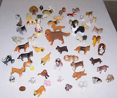 Lot of 57 Vintage Miniature Dogs Made of Hard Plastic.