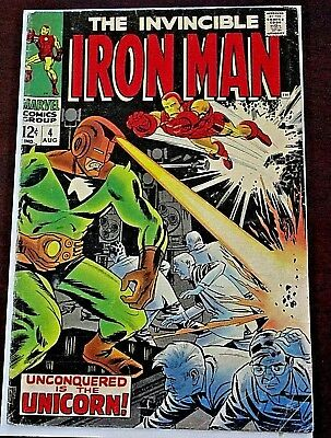 THE INVINCIBLE IRON MAN NO.4 AUG., 1968 // IRON MAN vs THE UNICORN **FREE SHIP**