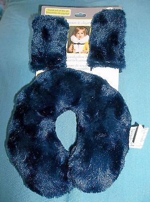 Blankets & Beyond-Baby-Toddler- Soft Travel Pillow & Seat Belt Covers-Navy Blue