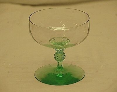 Old Vintage 1930s Sherbet Dish Green Wavy Depression Glass Ball Stemmed & Footed