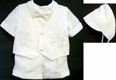 Baby Boys 4 Pieces Short Sleeve Christening Outfit with Cross & Dove - White