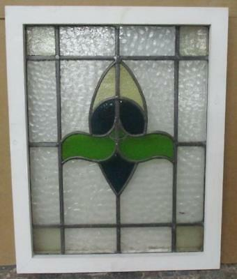 MIDSIZE OLD ENGLISH LEAD STAINED GLASS WINDOW Pretty Floral Abstract 19.5 x 24.5