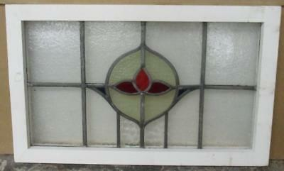 """MID SIZED OLD ENGLISH LEADED STAINED GLASS WINDOW Sweet Floral 26"""" x 16"""""""
