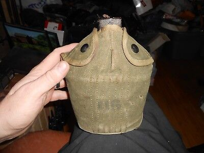 US Army Canteen Canvas Bag WWII 1943 Metal Canteen No Cup