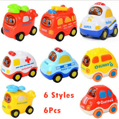 6PCS Set Cars Friction Back Helicopter Police Car Taxi Minibus Suit Baby toy