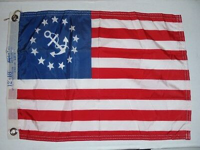 Vintage 12x18 American FLAG w/ Ship Boat Anchor YACHT Taylor Made USA 13 Star
