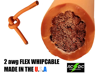 25' #2 Highly Flexible Welding Whip Cable Orange 600V Usa Made Epdm Copper Awg