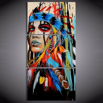 3 piece canvas art native American Indian with feather Painting wall pictur K0F2