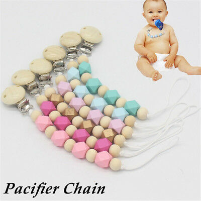 Nice Baby Wooden Beaded Pacifier Holder Clip Nipple Teether Dummy Strap Chain