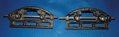 2 Antique CAST IRON EARLY 1900's ICE SKATE SHARPENERS With original Files