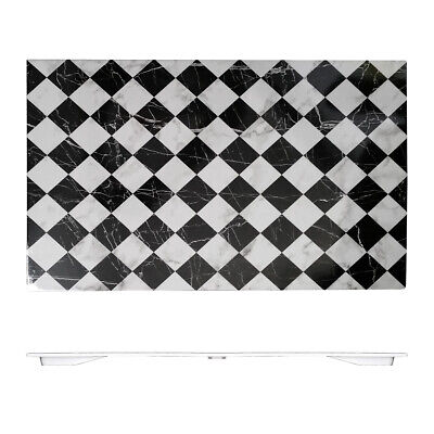 Melamine 530x325mm Plastic Tray Plate Platter Faux Marble Checker Serving