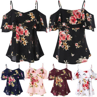 Womens Off Shoulder Floral Summer Top Ladies Loose Casual Blouse Tee T Shirt UU