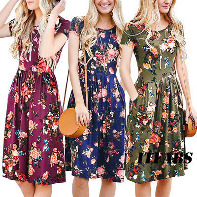 Women Summer Boho Casual Floral Maxi Evening Party Cocktail Beach Dress Sundress