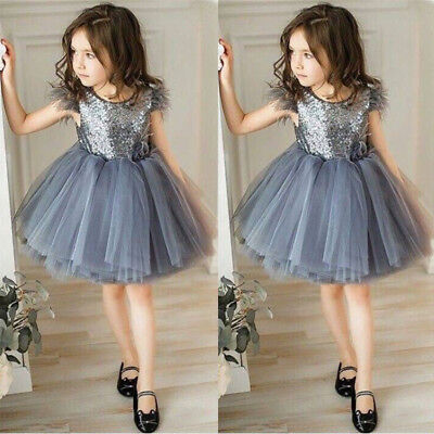 AU Stock 1-6Y Kids Baby Girls Princess Dress Lace Party Pageant Tulle Dresses