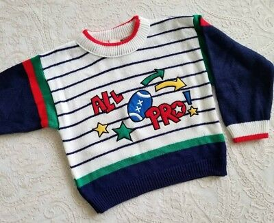 Vintage Baby Boys Toddler Sweater Sports Football Childrens Clothes
