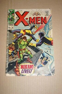 The X-Men #36 Silver Age comic. Marvel 1967. Vintage art, superheroes, 12c cover