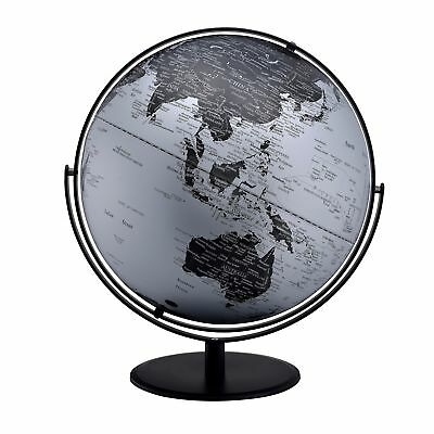 3D Globe with Metal Mountain Features, 20.5-inch, Black/Silver with Black Metal