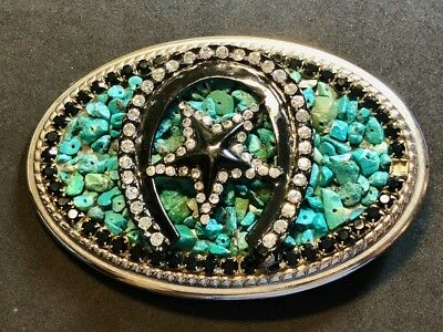 Belt Buckle - Horseshoe Western Star Stone Rock Turquoise?      THICK and CHUNKY